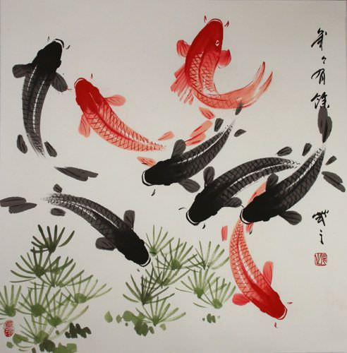 Large koi fish painting chinese character japanese for Japanese koi carp paintings