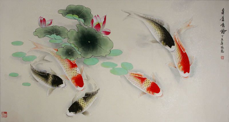 Chinese Koi Fish Watercolor Artwork Asian Koi Fish Paintings Amp Wall Scrolls Chinese Artwork