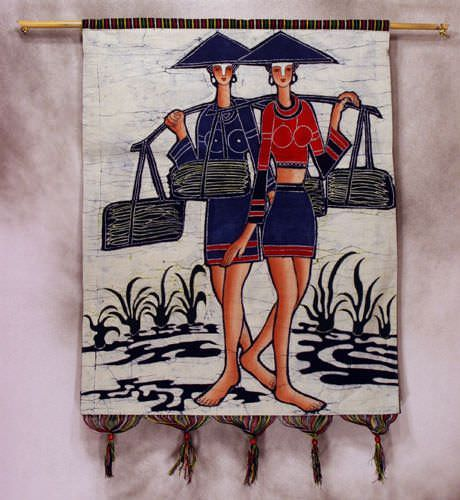 Ethnic Tribal Women Colorful Batik Wall Hanging Art