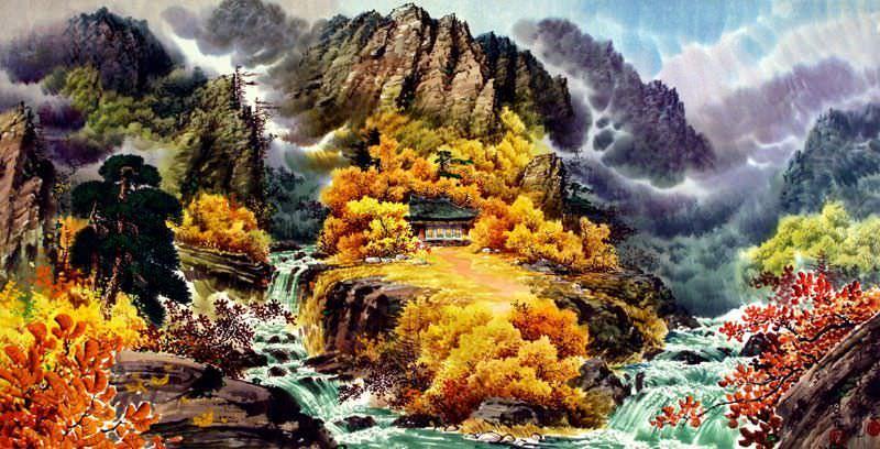 North Korean Waterfall Home Painting