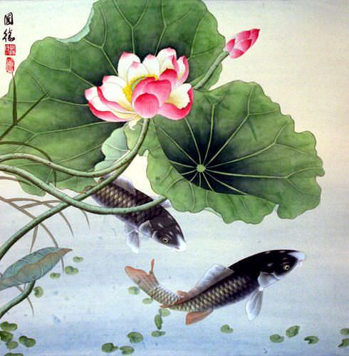 Koi Fish and Lotus Flower - Chinese Art Painting - Asian ...