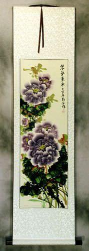 Purple Peony Flower Asian Wall Scroll
