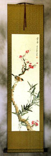 Enjoy the Beauty of Spring - Bird and Flower Wall Scroll