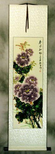Purple Peony Flower Chinese Wall Scroll