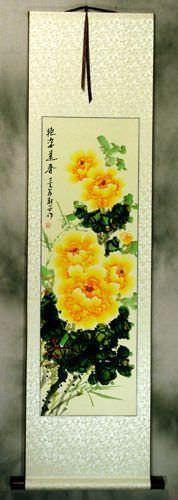 Yellow Peony Flower Wall Scroll