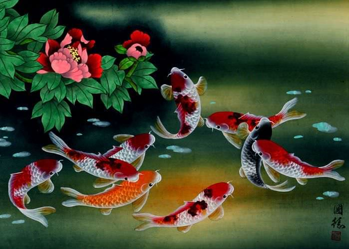 Nine koi fish and flowers painting asian koi fish for Chinese koi fish painting