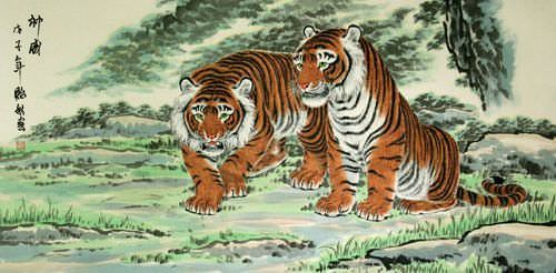 Invincible Might Asian Tigers Huge Painting