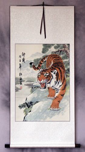 Invincible Might Chinese Tiger Wall Scroll Tigers